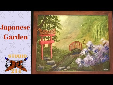 Japanese Garden – Easy Acrylic Painting Tutorial and demonstration for Beginners