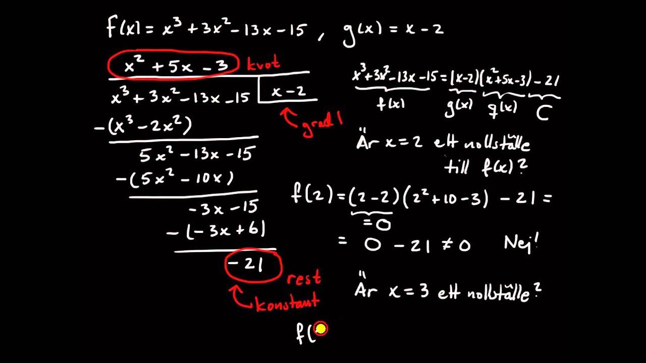 Polynom del 2, introduktion till faktorsatsen