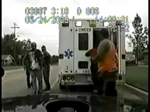 Police Misconduct - Highway Patrol pulls over an ambulance en route to hospital.