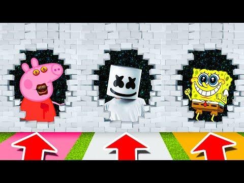 Minecraft PE : DO NOT CHOOSE THE WRONG WORMHOLE! (Peppa Pig, Marshmello & Spongebob) thumbnail