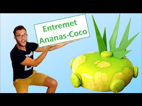 "RECETTE  ENTREMET ANANAS - COCO ""pina colada"" / Pineapple - Coconut Cake (English subs)"