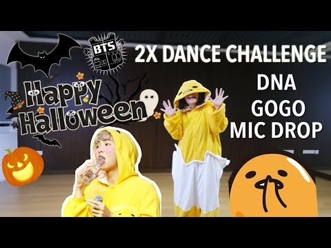 X2 FASTER BTS Dance Challenge Halloween Gudetama Edition   DNA, Go Go, Mic Drop [Charissahoo]