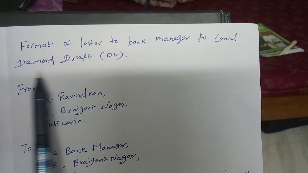 how to write dd cancellation letter to bank manager