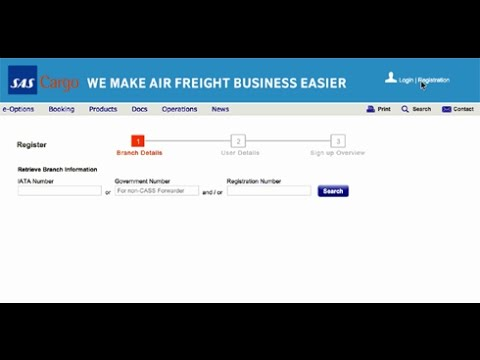 SAS Cargo Portal registration