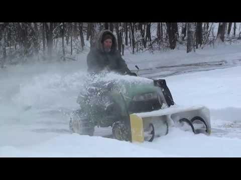 "John Deere 100 Series >> John Deere 125 with a 44"" snowblower attachment - YouTube"