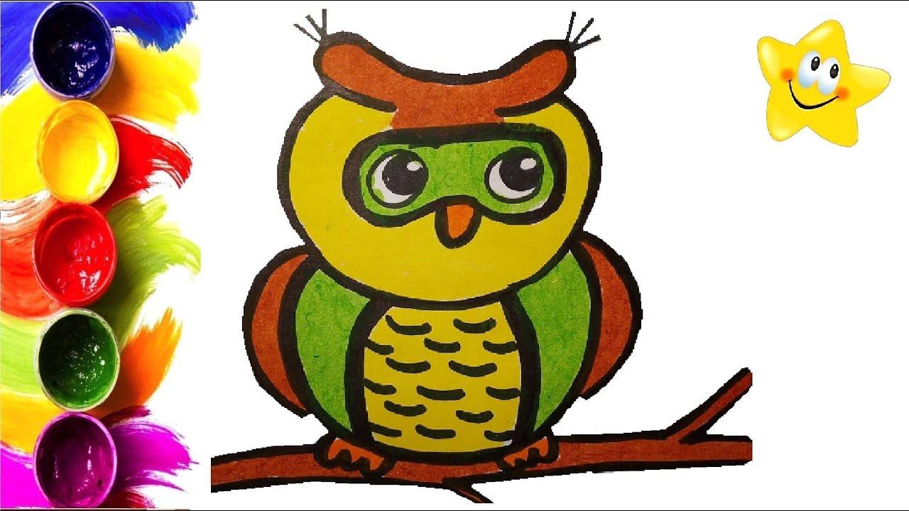 Раскраска для детей СОВА. Мультик - Раскраска. Учим цвета ...