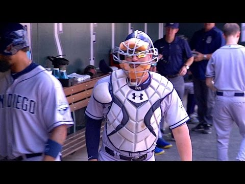 Alonso wears catcher's gear in the dugout