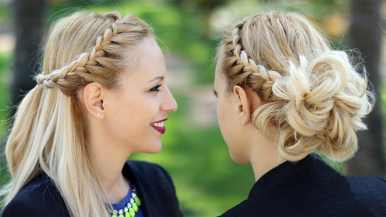 braided updo hairstyle party