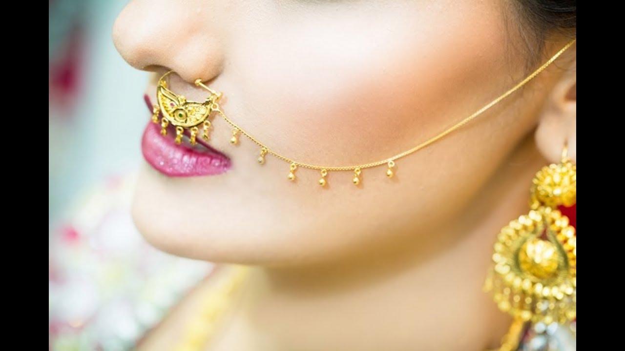 latest design bridal nose ring // bridal nose ring - YouTube