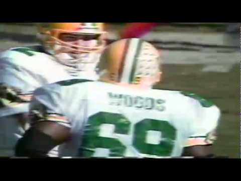 Oregon DT Marcus Woods stuffs UCLA RB Kevin Williams for a big loss 11-16-91