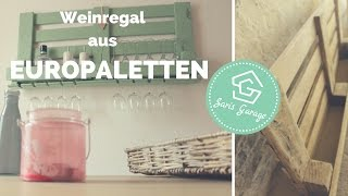 Weinregal aus Paletten | Palettenmöbel | DIY | Upcycling | How to | Weinregal Europaletten | bauen