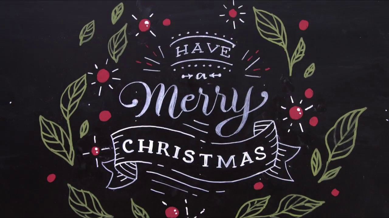 Christmas Chalkboard Art.Merry Christmas Chalk Art Greeting