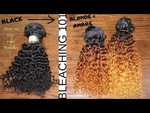 How to: BLEACH Hair Bundles/Weave from Black to Ombre BLONDE|| Detailed & Beginner Friendly