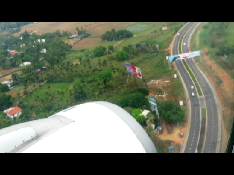 Aerial View of Periyar River & Landing at Kochi Airport
