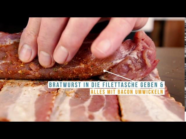 Schweinefilet mit Bratwurst gefuellt