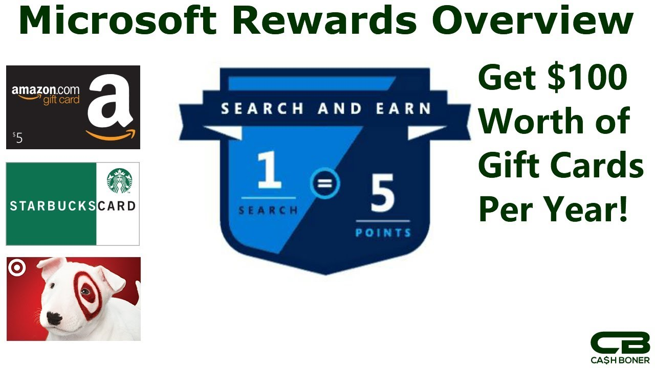 Microsoft Rewards Overview - Get $100 in Free Gift Cards for Amazon,  Starbucks and More per Year!