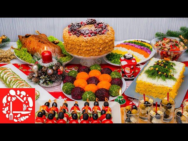 Изображение Меню на Новый год 2021! Готовлю 10 блюд на ПРАЗДНИЧНЫЙ СТОЛ: Торт, Салаты и Закуски