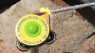 Experiments fidget spinner vs Chakri fire crackers || Diwali Firework Experiment 2019