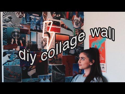 diy aesthetic collage wall | dorm room diy | samantha martin