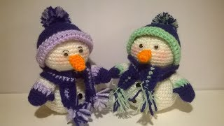 Pattern - snowman amigurumi crochethead: 1° round: magic ring 6 single crochet2° incr = tot. 12 sc3° 1 sc + 18 sc4° 2 sc...