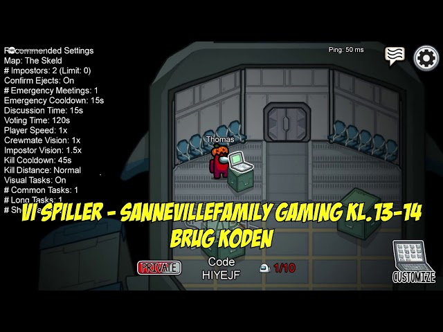 Vi spiller Among Us med jer på SanneVilleFamily Gaming kl.13-14 (brug koden i videoen)