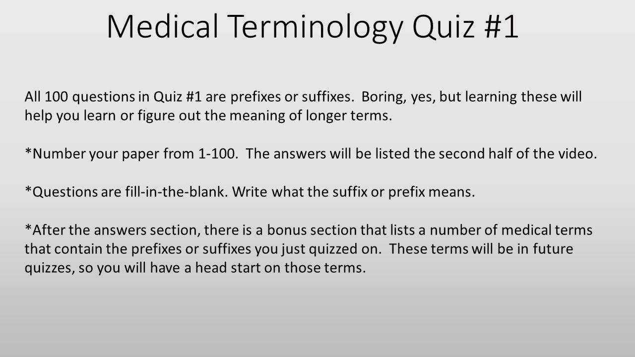 Medical Terminology Quiz 1- Prefixes/Suffixes - YouTube