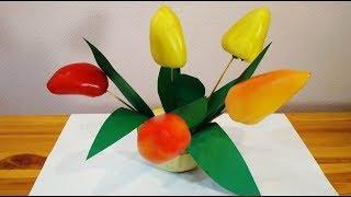 Как сделать осенние поделки из овощей. Цветы из перцев и кабачка в школу и детский сад.