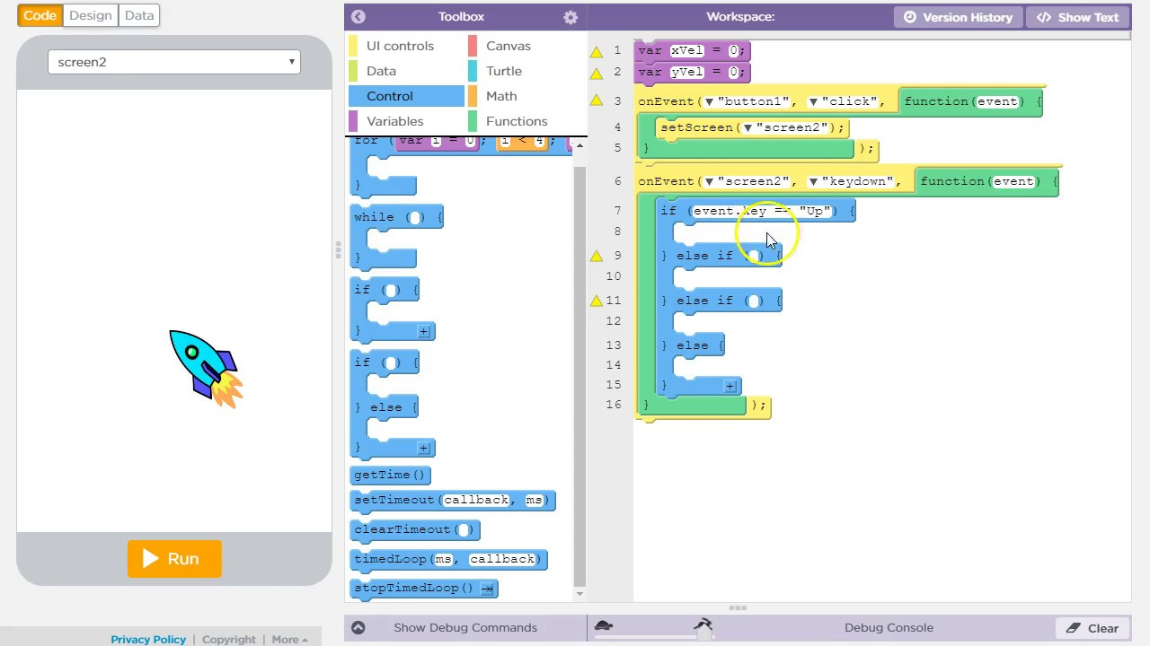 Keyboard input and movement in AppLab (Code org)