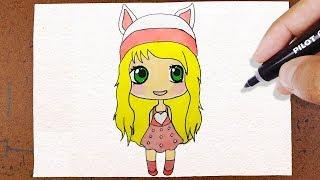 Como Desenhar Bonequinha ✬ Kawaii ✬ , Com Roupa de Coelho, How to Draw