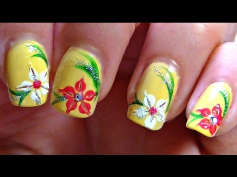 Summer Lily Nail Art Design Tutorial (Perfect for short nails!)