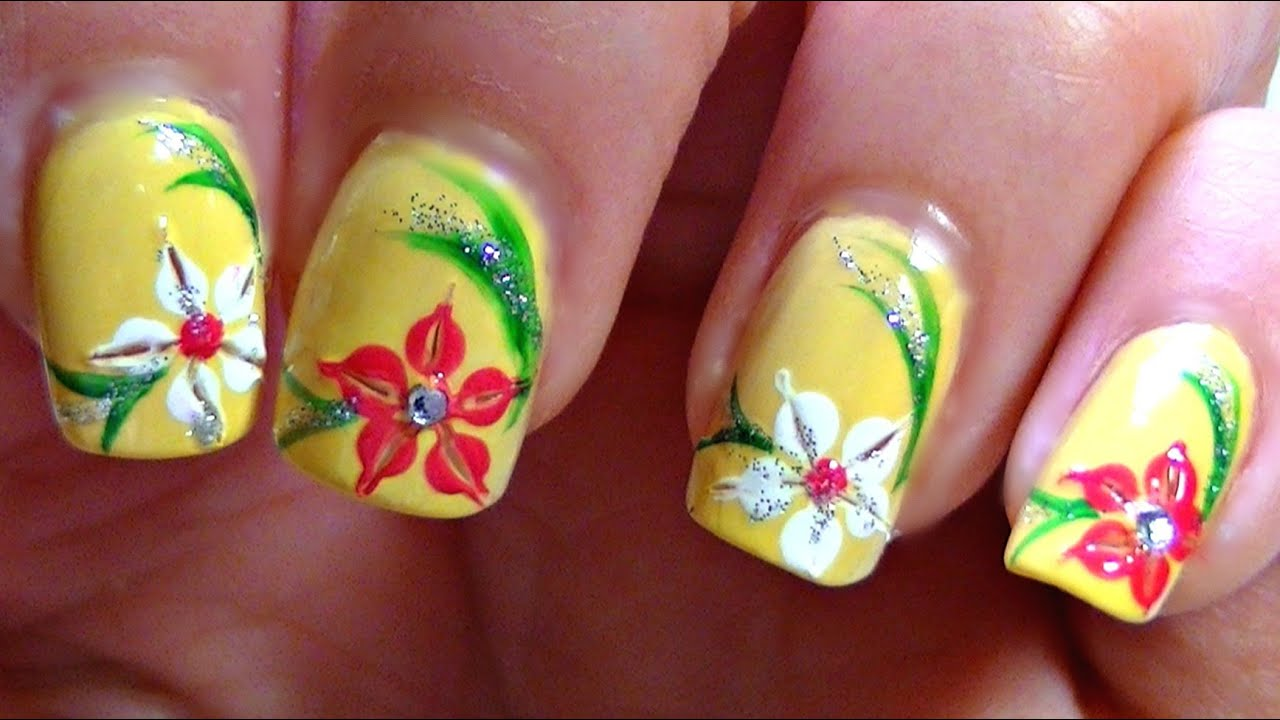 summer lily nail art design tutorial