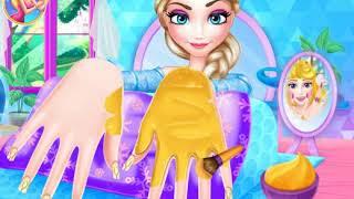 Manicure para a princesa  Jogo dos desenhos animados  coração frio