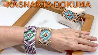 Kasnakta dokuma nasıl yapılır (Weaving beads using loom tutorial)