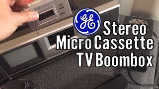 1982 GE Stereo Microcassette Boombox with Color TV