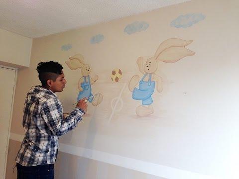 Como pintar y decorar una pared para ni os conejitos for Accesorio de decoracion de la habitacion