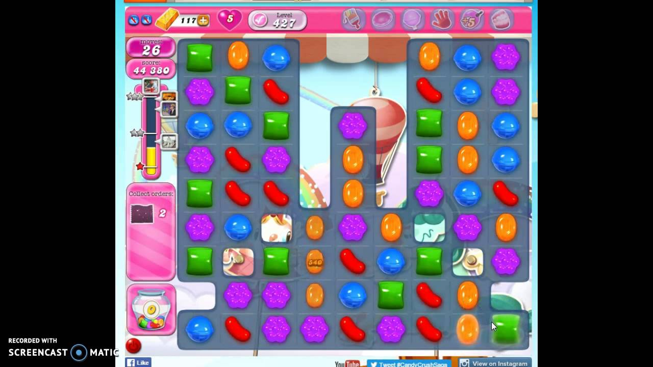 Candy Crush Level 427 w/audio tips, hints, tricks