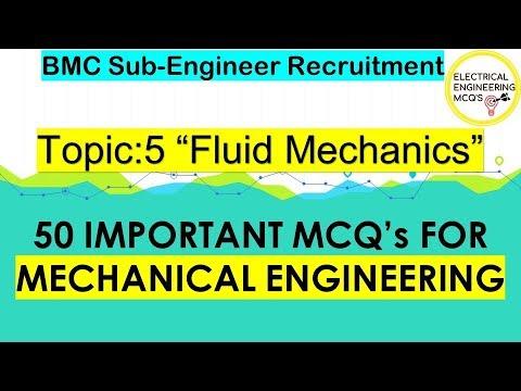 Top 50 Important Mechanical Engineering MCQs | Part  5 Fluid Mechanics |  BMC Sub-Engineer