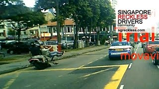Jaywalking traffic accident involving a pedestrian and a motorcycli...