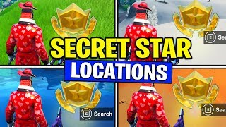 ALL SECRET BATTLE STARS Season 10 - Fortnite Week 1 - Week 6 Secret Battle Star Locations (SEASON X)
