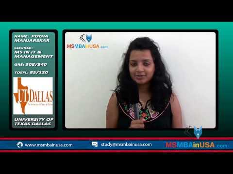 A student, Priyanka Manjarekar, on University of Texas Dallas student for her MS