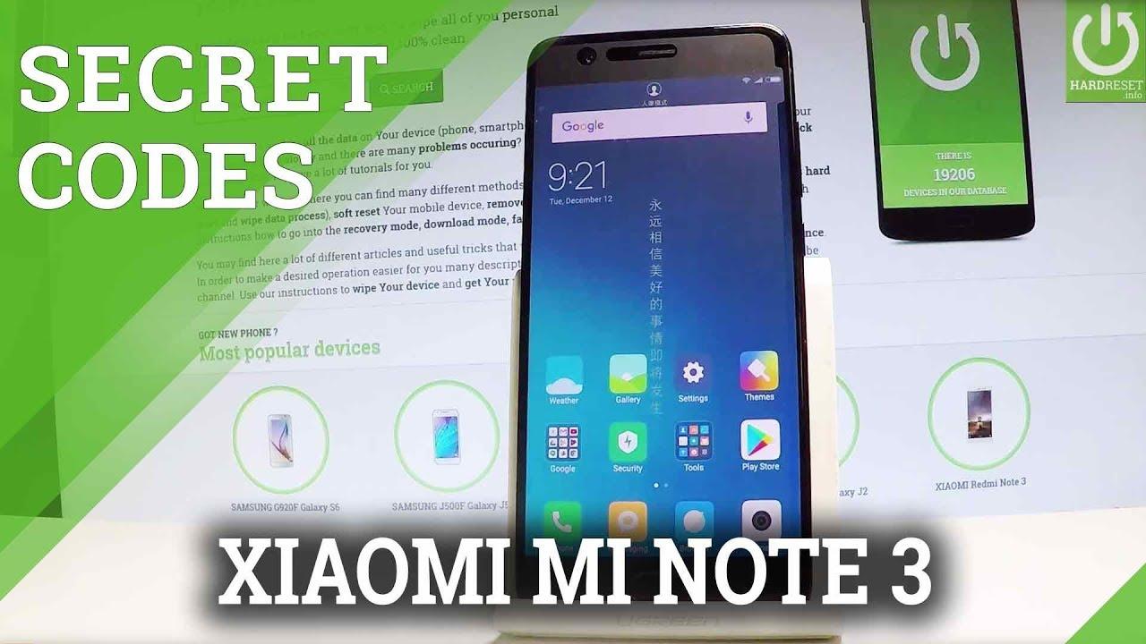 Codes in XIAOMI Mi Note 3 Test Mode / Hardware Test / Secret Menu