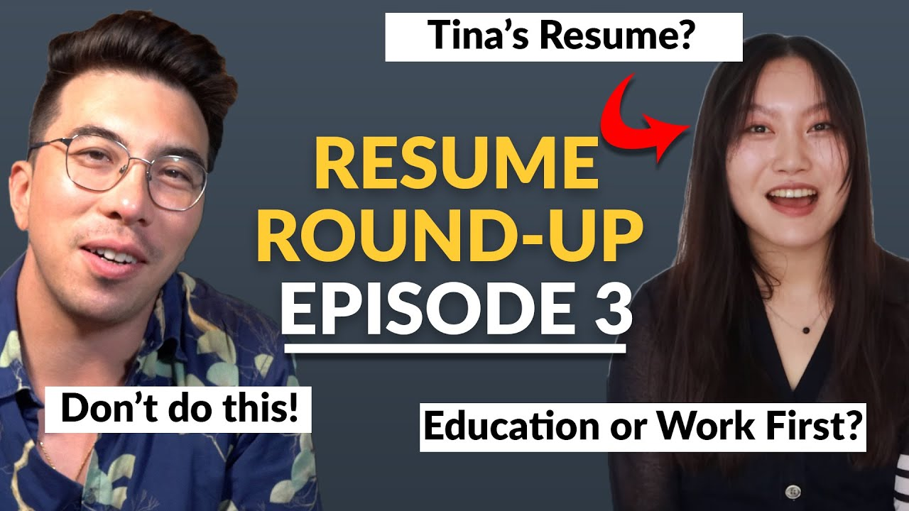 Data Science Resume Round-Up With @Tina Huang | Episode 3