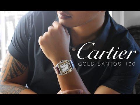 MY NEW CARTIER WATCH !!   GOLD SANTOS 100