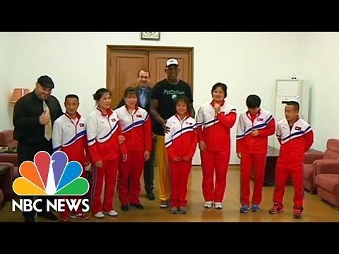 Former NBA Star Dennis Rodman Towers Over North Korean Athletes | NBC News