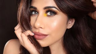 Brown eye with a Yellow POP! | | Why is Drugstore makeup SO expensive?! | Malvika Sitlani