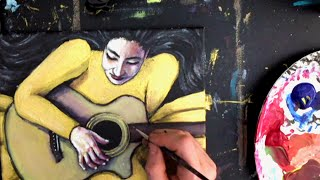 STEP by STEP Acrylic Painting, Time-lapse, figure, Lady Playing a Guitar