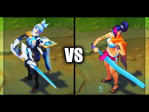 Pulsefire Fiora vs Pool Party Fiora Epic Skins Comparison (League of Legends)