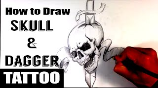 Video How to Draw a Skull and Dagger Tattoo - Skull Drawings download MP3, 3GP, MP4, WEBM, AVI, FLV Juli 2018