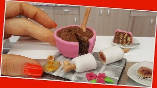 Rolling pin & mixing bowl mini form cake, mini cooking, tiny food, DIY edible mini cake