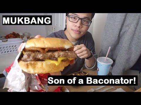 MUKBANG: Wendy's Son of a Baconator & Pecan Pie | Eating Sounds | JaySMR